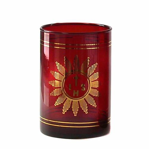 Vaso pequeño de vidrio rojo rubí s1