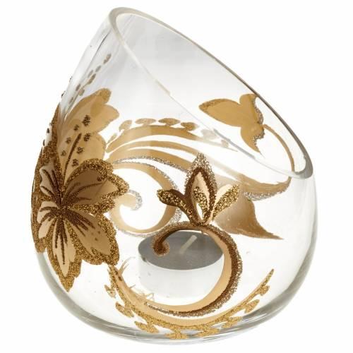 Vaso porta vela de Navidad en vidrio con tealight s1