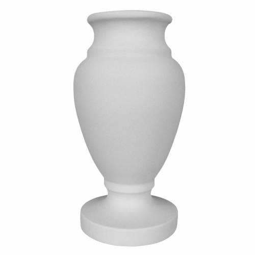 Vaso portafiori per cimiteri in marmo ricostituito bianco s1