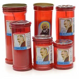 Veilleuses votives diverses: Veilleuse votive traditionnelle en cire blanche Padre Pio