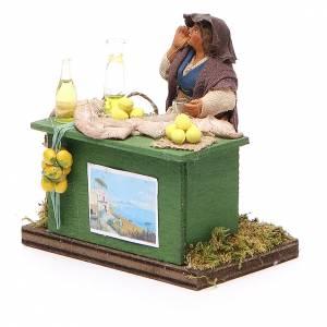 Vendeuse de citrons avec banc 10 cm crèche Naples s2