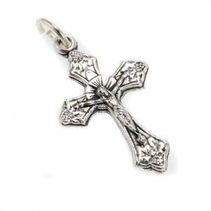 Eigenbau Rosenkränze: Versilberten Metall Kreuz mit Öse