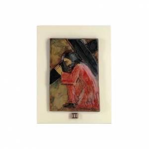 Vía Crucis: Vía Crucis 14 estaciones mayólica cuero, madera marfil