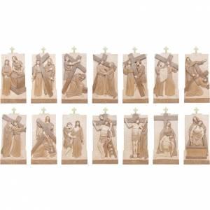 Via Crucis 14 stazioni 40x20 cm legno Valgardena multipatinato s3