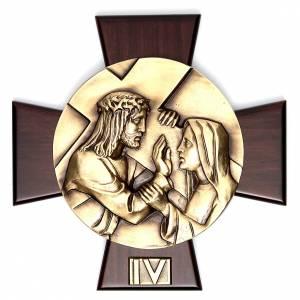 Via Crucis 14 stazioni ottone fuso su placca legno s4