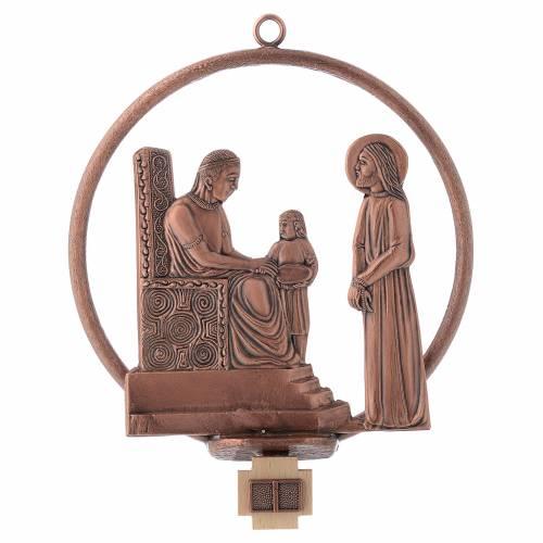 Vía Crucis 15 estaciones redonda en bronce cobrizo s1