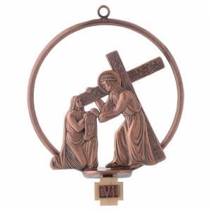Vía Crucis 15 estaciones redonda en bronce cobrizo s6
