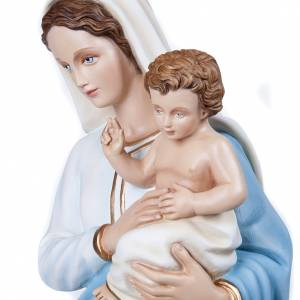 Vierge à l'enfant marbre reconstitué 100cm peinte s7