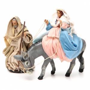 Vierge Marie en attente sur âne et St Joseph 8cm crèche Napolitaine s1