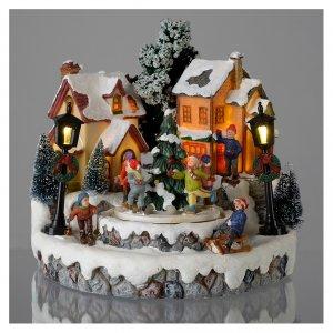 Villages de Noël miniatures: Village de Noël ronde sapin diamètre 20 cm