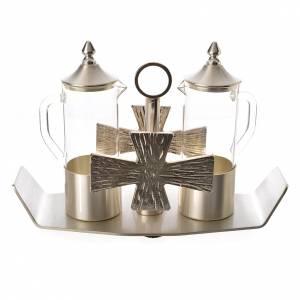 Vinajeras Metal: Vinajeras latón plateado con cruz