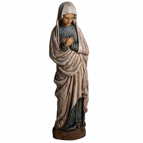 Virgin Mary, Annunciation statue in painted wood, 80 cm s1