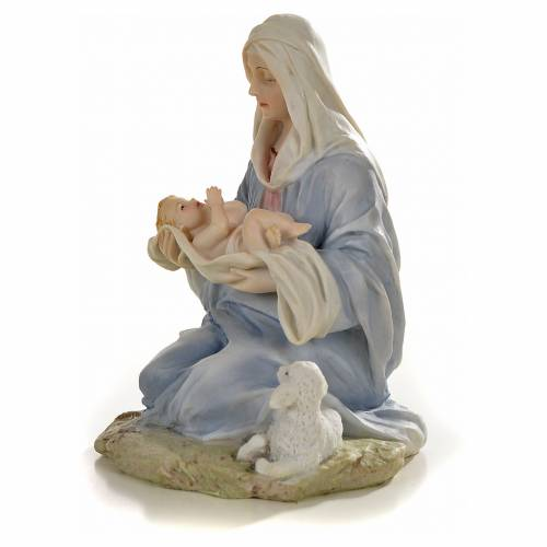 Virgin with baby statue in resin, 15cm s2