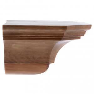 Wall shelf, gothic 22x27 in patinated wood s2