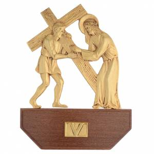 Way of the Cross in brass, 24x30 on capital - 15 stations s7