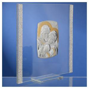 Bonbonnière: Wedding favour with Holy Family in silver and rhinestones 17.5x17.5cm