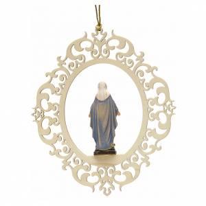 Christbaumschmuck aus Holz und PVC: Weihnachtsschmuck Gottesmutter der Gnade aus Holz