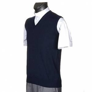 Jacken, Westen, Pullover: Weste V-Kragen Blau Wolle und Acryl
