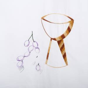 White alb wool chalice and grapes s2