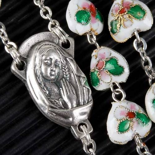 White cloisonné rosary with heart shaped beads s2