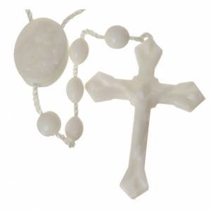 Economical rosaries: White nylon rosary, centerpiece easy to open