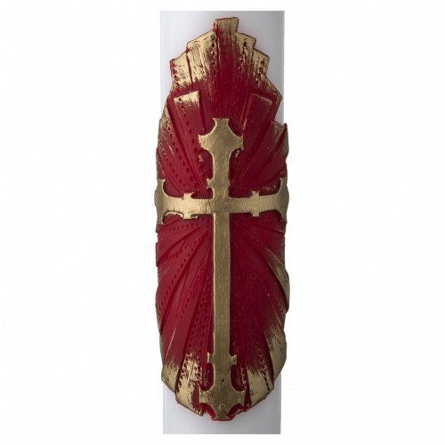 White Paschal Candle, antique cross s2