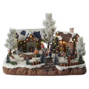 Christmas villages sets: Winter village with music and playground 35x25x25 cm