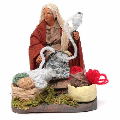 Woman spinning 10 cm for nativity scene s1