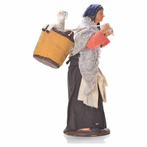 Woman with basket and sheep on shoulders, Neapolitan Nativity 14cm s3