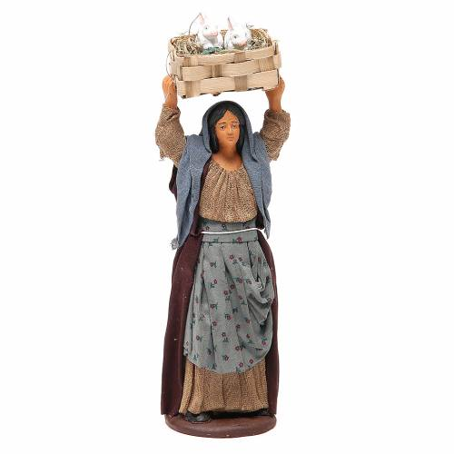 Woman with rabbits in a box 14cm neapolitan Nativity s1