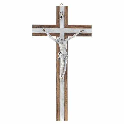 Wood crucifix with mother of pearl effect inlay s1