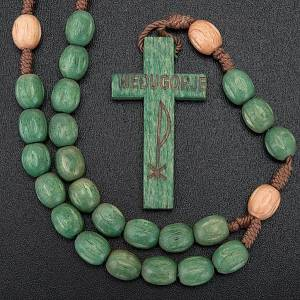 Wood Medjugorje rosary with coloured beads s4
