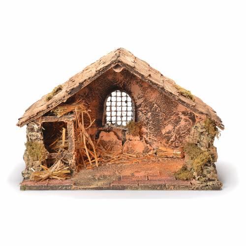 Wooden and straw cabin, Neapolitan Nativity 26x40x29cm s1