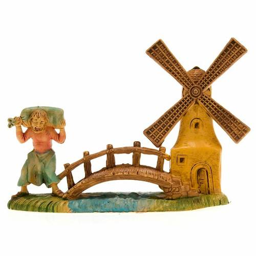 Nativity setting, miller with windmill and bridge 10cm 3