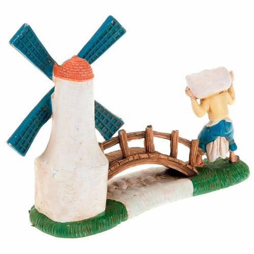 Nativity setting, miller with windmill and bridge 10cm 2