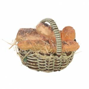Miniature food: Accessory for nativities of 20-24cm, basket with bread in wax