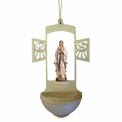 Acquasantiera legno intagliato Madonna Lourdes dipinta s1