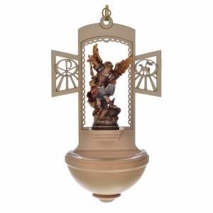Acquasantiere: Acquasantiera legno intagliato San Michele dipinto