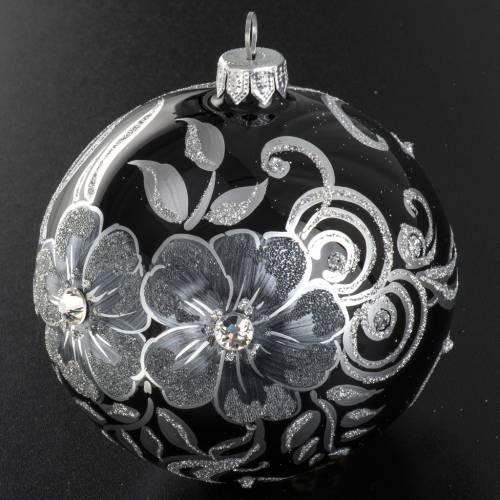 Addobbo albero Natale sfera vetro nero argento 10 cm s3
