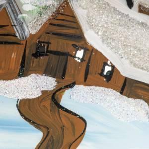 Addobbo albero Natale vetro soffiato bianco paese 12 cm s2