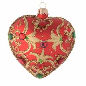Palline di Natale: Addobbo cuore vetro rosso decoro oro 100 mm