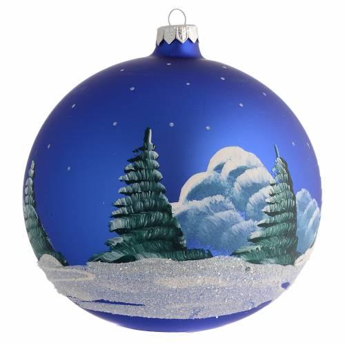 Addobbo Natale palla blu paesaggio neve 150 mm s2