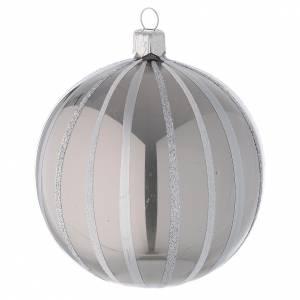 Palline di Natale: Addobbo Natale palla vetro argento righe 100 mm