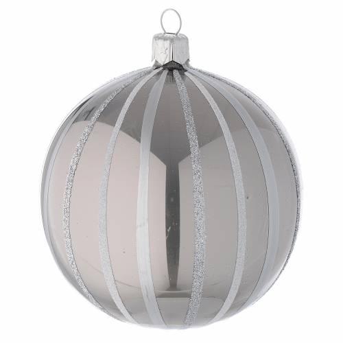 Addobbo Natale palla vetro argento righe 100 mm s1
