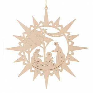 Decorazioni albero in legno e pvc: Decoro stella intagliata presepe sacra famiglia