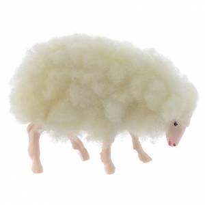 Animali presepe: Agnello lana presepe h reale 3 cm