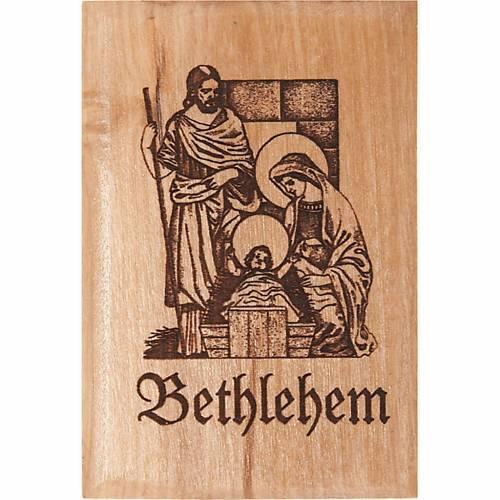 Aimant en bois d'olivier, Sainte Famille Bethléem s1