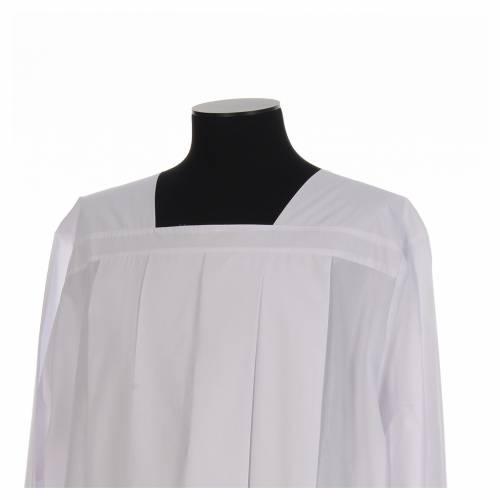 Alba para amito blanca 4 pliegues cuello cuadrado mixto algodón s4
