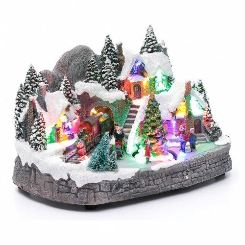 Aldea navideña iluminado musical movimiento árbol navidad 19x31x20 cm s3