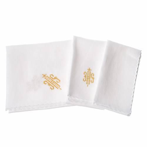 Altar linens set, 100% linen, golden IHS s2